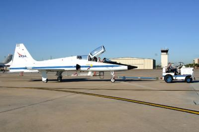 NASA T-38 under tow to Static Area
