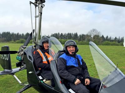Dan takes Paddy up in the Gyrocopter